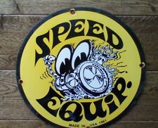 Vintage Speed Equipment Racing Moon Eyes Heavy Porcelain Sign 12� gas & oil sign