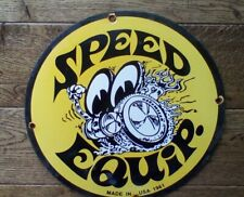 """Vintage Speed Equipment Racing Moon Eyes Heavy Porcelain Sign 12"""" gas & oil sign"""