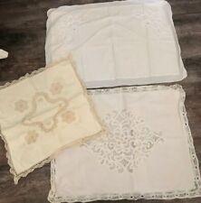 3 Gorgeous Vintage Pillow Shams Cotton & Linen Lace Embroidery Cottage Chic