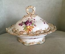 Antique Floral Porcelain Covered Round Dish W/ Pre-1883 English Registry Mark