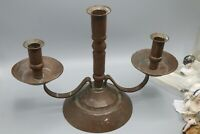Large Antique Primitive Copper Early American Candlestick Holder Candleabra