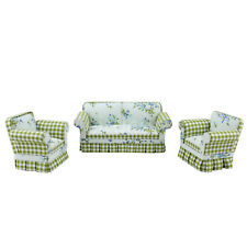 Doll miniature furniture 1/12 scale Fabric Pastoral style Sofa&chair 3pcs Set