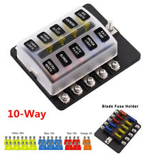 12-32V Auto Car 10 Way Circuit Standard Blade Fuse Box Block Holder w/ Fuses Kit