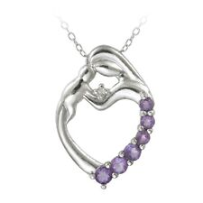 """925 Silver Amethyst & Diamond Accent Mother and Baby Heart Necklace, 18"""""""