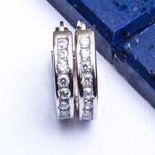 BEAUTIFUL! Channel Set Round CZ Hoop .925 Sterling Silver Earrings