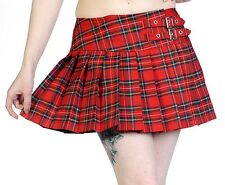 Banned RED TARTAN Pleated Girls Short Mini Skirt Checked Party Goth 10 12 14 16