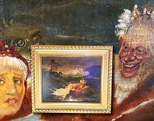 Spiel der Wellen. Orig. antikes Ölgemälde nach ARNOLD BÖCKLIN, um 1900 Symbolism