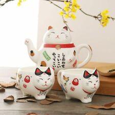 Japanese Maneki Neko Lucky Cat Ceramic Tea Set Teapot Infuser Cups Porcelain New
