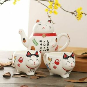 Japanese Maneki Neko Lucky Cat Ceramic Tea Set Teapot Infuser Cups Porcelain New