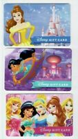 DISNEY Gift Card - Princesses, Belle, Jasmine - Collectible /No Value - LOT of 3