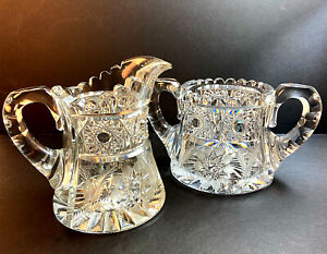 Sugar & Creamer American Brilliant Period Cut Glass Engraved Leaves Excellent