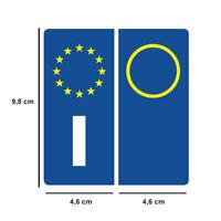 ITALIANE AUTO TARGE COPPIA DI 2 ADESIVI SIMBOLO EUROPA RINFRANGENTI STICKERS yv
