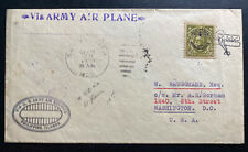 1928 Philippines Island First Flight Airmail Cover to Washington DC Usa Army