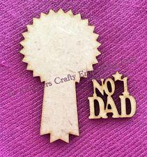 10 X NO 1 Dad ROSETTA Abbellimento MDF Legno Craft Festa del Papà 50 mm Card Making