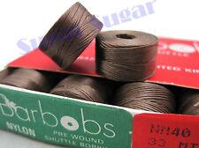 50 x Barbobs Pre-wound Shuttle Bobbins 33M  Brown Colour