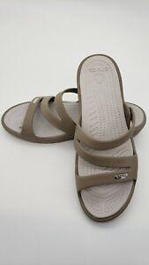 Crocs Patricia Low Wedge Women's Slide Sandals - Tan  Sz 9 VGC