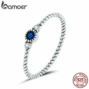 BAMOER Solid S925 Sterling silver Blue Zircon Ring For Women Fashion Jewelry