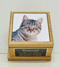 Cat Pet Urn with Custom Tile Photo & Engraved Personalized Tag Red Alder