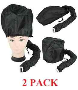 2 Hair Drying Styling Soft Cap Bonnet Hood Hat Blow Hair Dryer Attachment Black