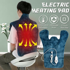Electric Heating Pad Relief Shoulders Neck Back Pain Massage Wrap Blanket Mat ☍