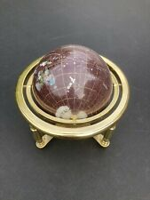 GemStones Terrestrial Globe On Brass Stand