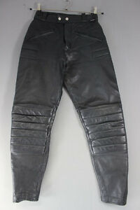 BRITISH MADE GEAR BLACK LEATHER BIKER TROUSERS: WAIST 26 INCH/INSIDE LEG 28 INCH