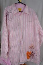 P.J. Mark XXL Orange Pink White Stripe Poly/Cotton French Cuff  Men's Shirt