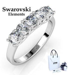 Anello Riviera Donna Solitario Swarovski Elements Argento 925 Fedina Oro Bianco