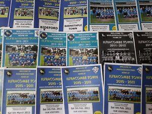ILFRACOMBE TOWN HOME PROGRAMMES SEASONS  2009/10 - 2013/14 WESTERN LEAGUE