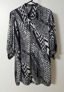 CAROLINE MORGAN Tunic Top 12 Black/Silver/Grey  3/4 Sleeve Button Front Bodice
