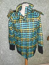 20 22 03 Roxy Damen Winter Jacke Kapuze Gr. XS grün gelb braun schwarz Kariert