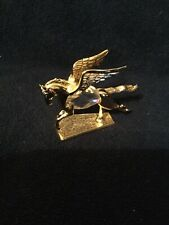 New listing Vintage Manon Gold Plated & Austrian Crystal Pegasus Flying Horse. Original Box.