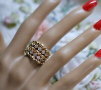 Vintage Jewellery Gold Ring White Sapphires Antique Deco Dress Jewelry N 7