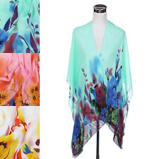 Elegant Chiffon Floral Sheer Kimono Wrap Cardigan Beach Cover Up