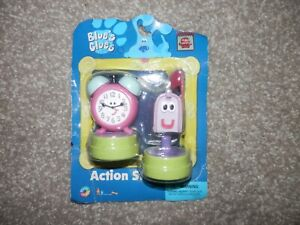 Blues Clues REAL ACTION STAMPERS New clock & mailbox VINTAGE RARE