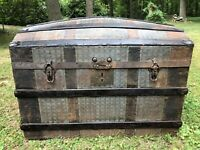 Antique Vintage Dome Top Pressed Tin & Wood Chest Trunk Hump Camel Top