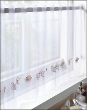 "Café Voile Curtain Panel Embroidered Kitchen Net Curtains Sea Shells 59"" X 2"
