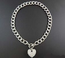 "16"" Silver Tone Toggle Clear Rhinestone Puffy Heart Necklace"