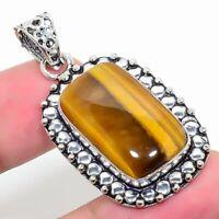 "Luster Tiger'S Eye Gemstone  Ethnic 925 Silver Jewelry Pendant 2.17"" AL-562"