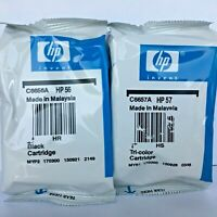 New Genuine HP 56 Black 57 Tricolor 2PK Ink Cartridges, DeskJet 9650