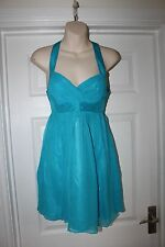 Ladies Turquoise Lipsy Dress Size 8 Silk