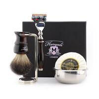 5 Pcs Mens Shaving Kit 5 Edge Razor, Black Badger Brush, Stand, Bowl & Soap Gift