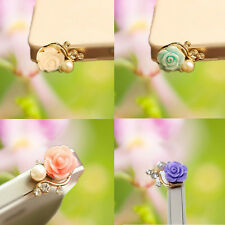 Rose Crystal Cell Phone Stopper Dust Plug Plug Cover Ear Cap Earphone