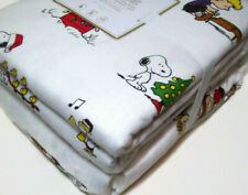 Pottery Barn Teen Christmas Peanuts Snoopy Flannel Twin Duvet Cover 1 Sham New