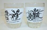 Set 2 Vintage Novelty Shot Glasses - Mud in Eye Drinks on House