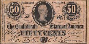 Confederate SA  50 Cents  2.17.1864  P 64a 1st. Series B  Circulated Banknote G4