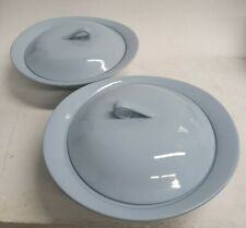 2 X Johnson Bros Blue Cloud serving Dishes With Lids Rare 25 cm Width #175