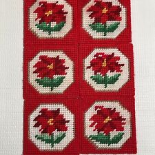 Poinsettia Coasters Plastic Canvas 6 Completed Vintage Kitsch