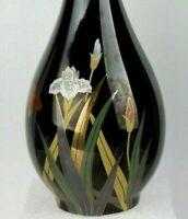 """Otagiri Vintage Signature Piece Lotus Floral Design 8"""" Bud Vase Black Gold Trim"""
