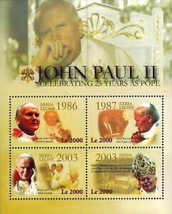 MODERN GEMS - Sierra Leone - Pope John Paul II's 25th Anniv. - Sheet of 4 - MNH